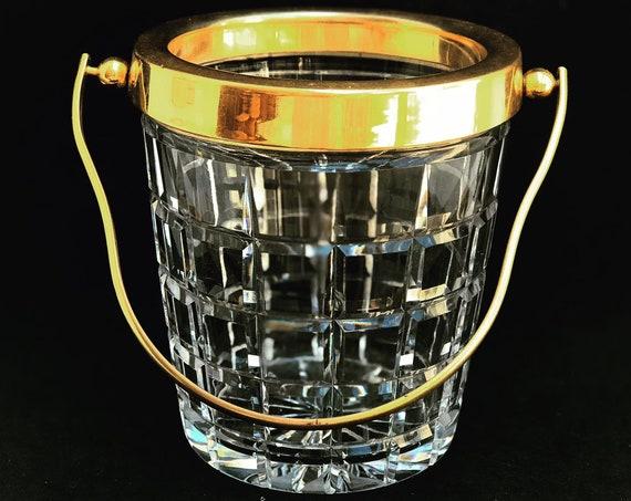 Ice Bucket heavy cut crystal with golden handles Mid Century Retro Bar Accessories, MCM Bar cart decor Hollywood Regency German Echt Crystal