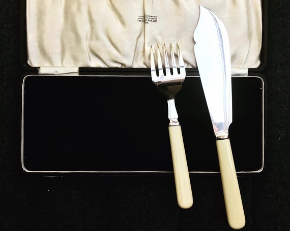 Fish Serving cutlery set seafood knife England Silver Plated 1910s Ivorine handled gift for her seafood flatware wedding gift boxed