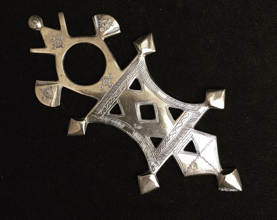 Cross Touareg Amulet Talisman Silver Tribal Jewelry African Berber Nomadic  art Authentic Handmade decor  Tuareg  collector