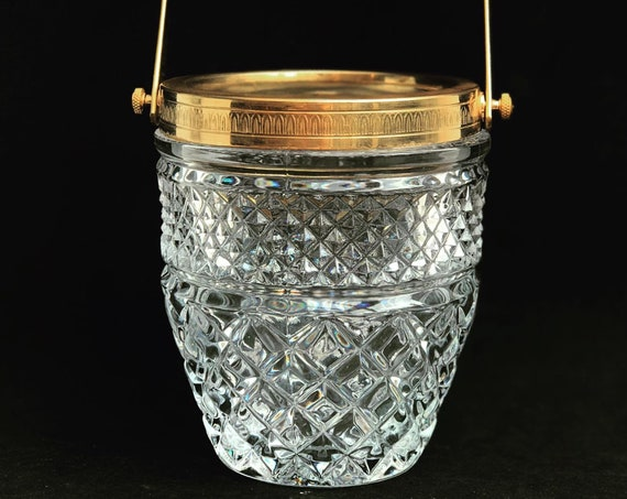 Ice Bucket heavy molded glass French with golden metal handles Mid Century barware  Mixology tools bar cart Hollywood Regency man cave gift