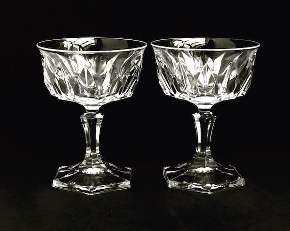 Champagne glasses Val Saint Lambert Metternich Fantasie Set 2 Cut Crystal cups cocktail liquor Sherbet dessert Wedding toast gift couple