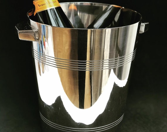 Art Deco Champagne Bucket Silver Plated Wiskemann 1920s Bar Cart Decor Christmas Table wine chiller cooler Gift for Wedding Gift man cave