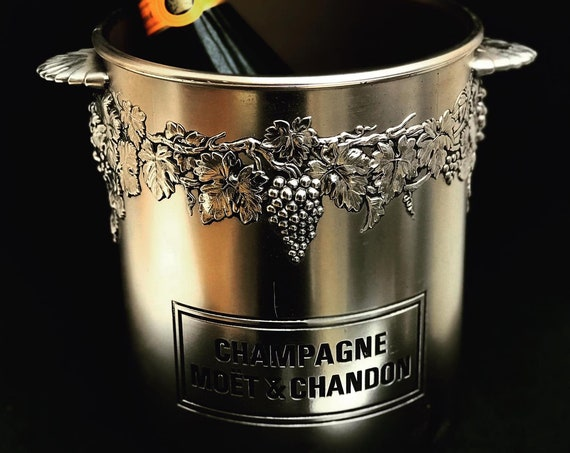 Champagne Bucket Moet Chandon  Wine Cooler Made in France. French Vintage, Vintage Moet and Chandon Metal Champagne Bucket, Stamped