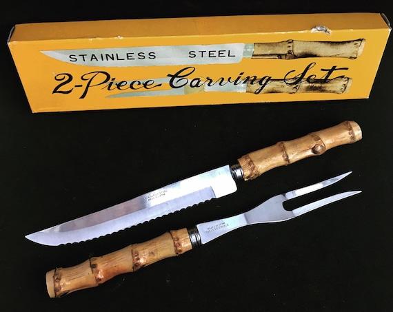 Bamboo flatware set carving knife fork  boho chic bohemian tiki folk country Food Photography Prop nature tikki decor nature gift for her