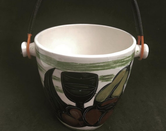 Ceramic Ice bucket vintage heavy scoubidou handle 50s Vallauris France Colors green bar accessories mid century modern