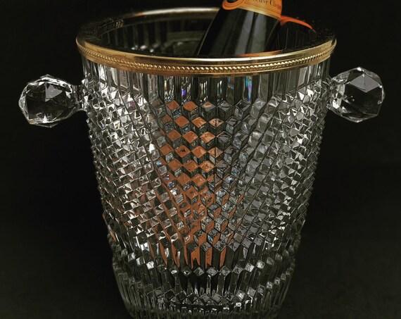 Champagne bucket Crystal Boheme LG France Golden rim ice Wine chiller cooler clear art glass wedding gift