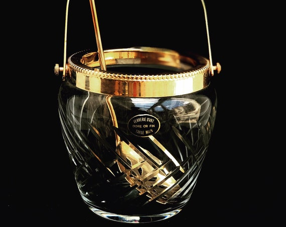 Ice Bucket hand cut crystal  French with golden metal handles Mid Century barware  Mixology tools bar cart Hollywood Regency man cave gift