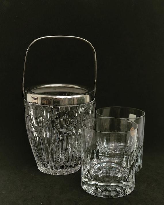 Whisky Glass set of 2 heavy Cristal Cut glasses and Ice bucket Drink Glasses Whisky Bourbon Vintage bar set Liquor measure gift him