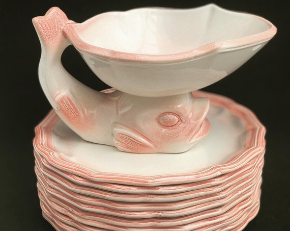 Dessert/ Entree/cheese plates dishes soft pink vintage majolica dinnerware set, made in the Mid Century by Salins Les Bains hand painted