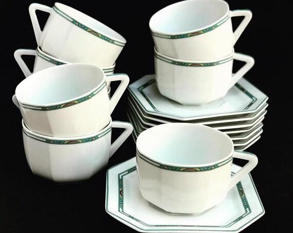 Porcelain Bernardaud Limoges 8 tea/ coffee cups 8 saucers square Paul Poiret Années 30s discontinued replacement white turquoise Art Deco