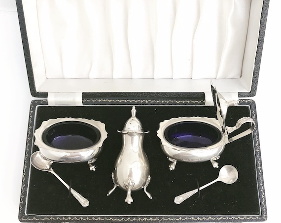 Condiment Set Salt pepper cellars Sterling Silver mustard cruet set cobalt blue glasses with tray Silver  B & Co  wedding gift