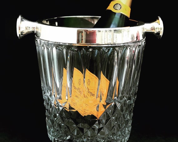 Champagne Ice Bucket Crystal silver plated trim handles Germany Cut Glass Wine cooler chiller Hollywood Regency bar cart wedding gift