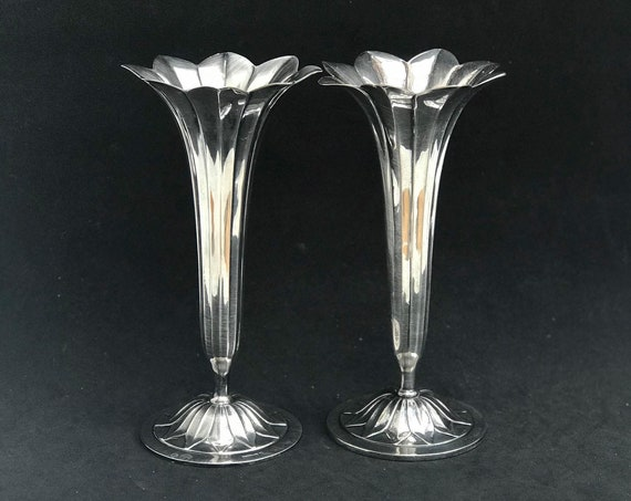 Pair vases Soliflore Silver Plated Art Nouveau by Bruno Wiskeman small vases Antique wedding gift table decor entrance bedroom decor
