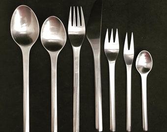 Georg Jensen Prisme Vintage 7 Piece Stainless Steel Place Setting  Prism Scandinavian design flatware danish cutlery gift for single
