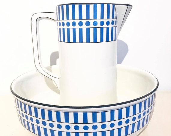 Wash Set Art Deco Jug Wash Bowl, 2 pieces Set, antique wash bowl basin and pitcher, Large Wash Pitcher Set, Belgian Pottery 1920s