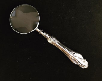 Magnifying Glass Sterling Silver handle Vintage Desk Ancient Small magnifier round Victorian Lens Antique gift for him dad Photography props