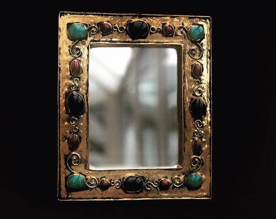 Mirror Francois Lembo Vintage turquoise cabochons Ceramic  French Vallauris glazed ceramic Jeweled  Golden mirror
