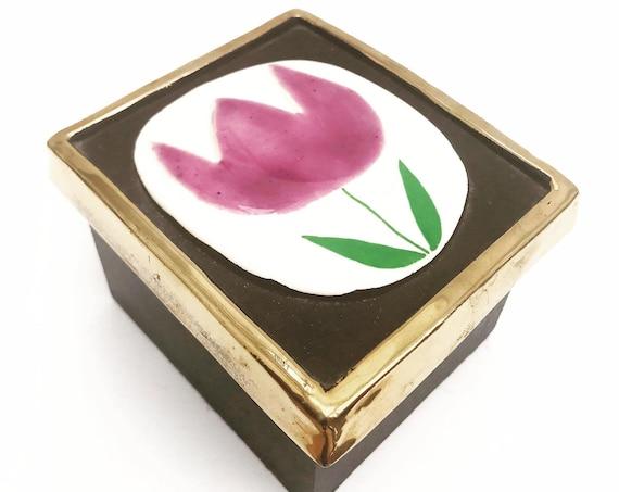 Mithé Espelt Box Vintage Square Ceramic Jewelery flowers  pink bordeaux French Vallauris glazed  Mid Century French Vanity decor
