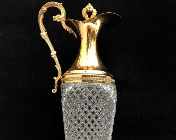 Claret jug crystal Vintage Traditional Goldtone Cut Glass Pitcher Ewer Water Jug Hollywood Regency Decanter wine server