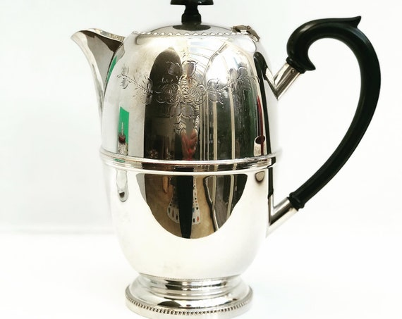Victorian teapot or Coffe pot silver plated Antique Anglais Georgian Revival wedding gift English bar decor engraved teapot gift for her