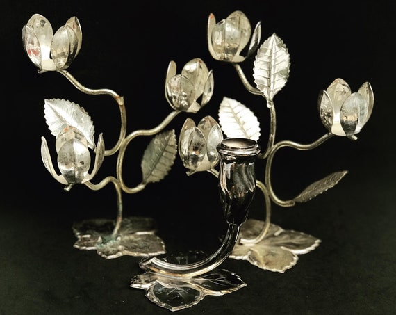 Candlestick holders vintage Quist Silver metal in the shape of open  flower Gift for her Christmas table decor leaves decor