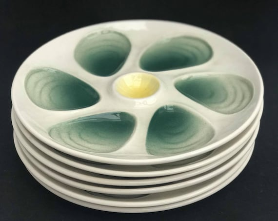 6 French Oyster Plate green Vintage Oysters Platter 1950 Plate oysters, dish oysters, shellfish, seafood, ceramics France, French pottery
