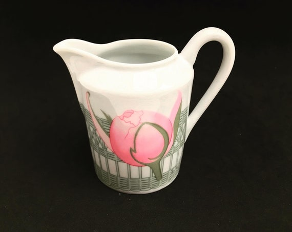 Hermes Creamer  Porcelain Peonies  Vintage pink white Replacement Old Milk Jug Romantic gift for her