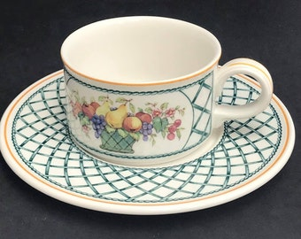 1 Villeroy & Boch basket Cup with saucer Collectable China Replacement Vintage Collection, Discontinued China