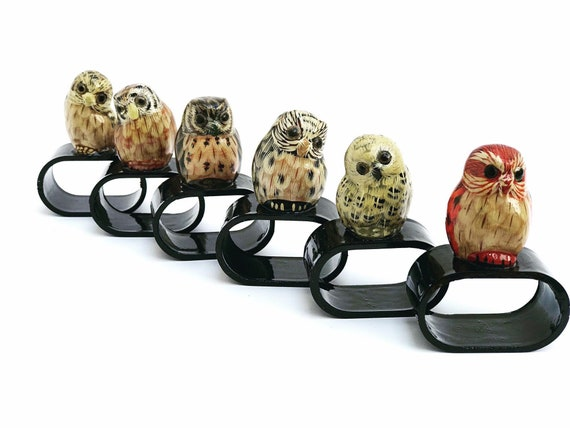 6 Vintage Owl Napkin Rings Animal Country hunter  set 6 gift Decorative Napkin boho chic  Home Decor, French Duck Owl lover