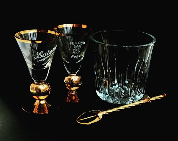 Bar set Ice bucket Wine glasses set porto glass Vintage Colonial Golden footed set Art Deco Bar accessories Mixology tools Hollywood Regency