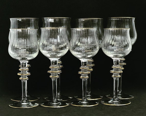 Wine glasses and Water glasses Crystal T Murano Vintage 1950s gold 24 K decor Christmas table decor wedding gift Venecian Crystal collection