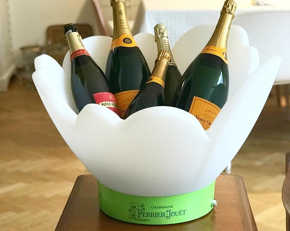 Perrier Jouet Champagne Bucket vasque bowl by Emile Gallé led light Bucket garden pool party Display VIP Bottle Night Club Wedding Party Bar