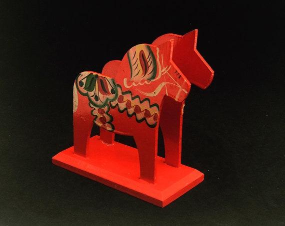 Red Dala Horse Figurine Horse Swedish Nils Olsson Napkin Holder  Original Sticker Scandinavian Hand Painted Scandinavian design red  Wood