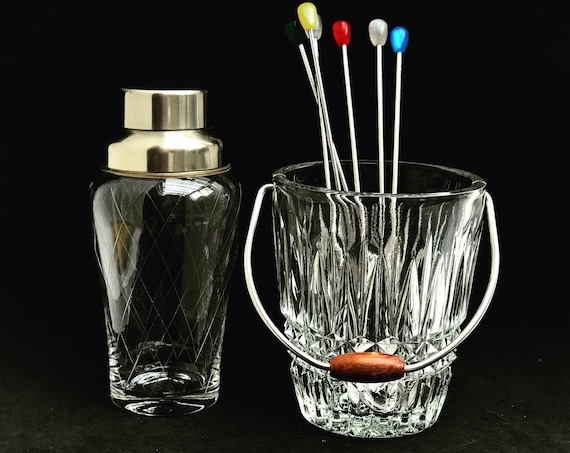 Cocktail shaker Crystal and ice bucket cocktail spoons  Mid Century Bar cart Bar set 60s Mixology Bartender Barista home gift for him