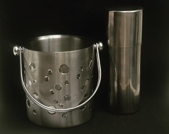 Cocktail Shaker and Ice bucket Vintage  Stainless Steel Shaker, Bar Accessories, Mid Century, Martini Shaker, Vintage Barware gift for him