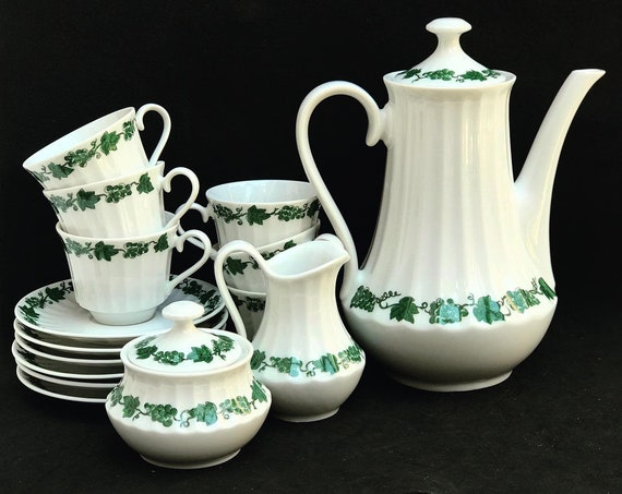 Coffee set Wunsiedel demitasse espresso coffee set Coffee pot 6 cups saucers sugar pot creamer Bavaria Vintage porcelain  70s, white green