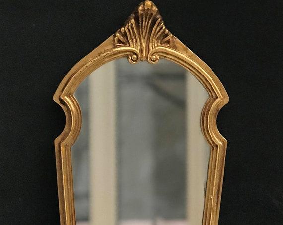 Golden wall Mirror  Belgian  1960s Vintage Gilt  Resin ready to hang Hollywood Regency Molded  Mirror Bedroom decor entree decor bath vanity