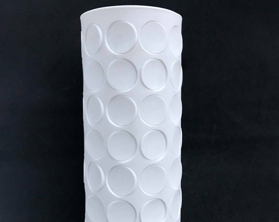 Op Art Vase Vintage 1960-70s Winterling Porcelain Bisquit  White  extra Large Vase West German Pottery Fat Lava Era geometrical with circles