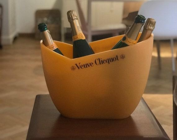 Veuve Clicquot Magnum French champagne ice bucket for 4 bottles of champagne vasque chiller cooler wine orange decor bar cart gift for him