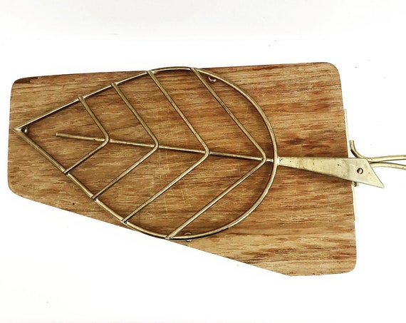 Vintage thick wooden cutting Board Charcuterie platter Cheese appetizer Plate Photography Props Display bread Chopping Brass Trivet Ham