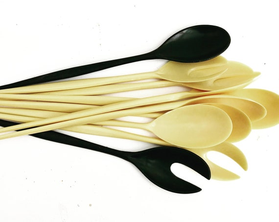 MCM Vintage 5 pairs Salad Servers Fork Spoon Pastel yellow and black celluloid Plastic Mendle Brothers Vintage c.1950 gift garden party
