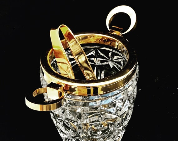 Ice Bucket heavy cut crystal with golden metal handles Mid Century barware  Mixology tools