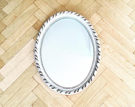 Silver oval mirror Rustic Vintage  Wall Mirror made in Belgium Make up mirror hall baroque modern vintage 1960s bathroom mirror with frame