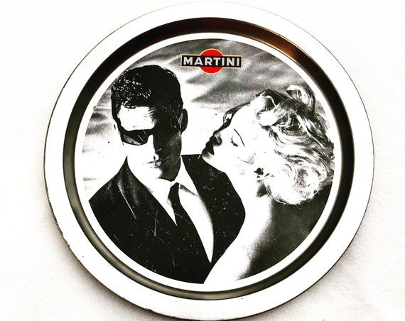 Martini round tray tin Vintage Liquor Labels Tray Martini Rossi Vermouth Bar collection Bar cart gift for him Christmas Advertising bar