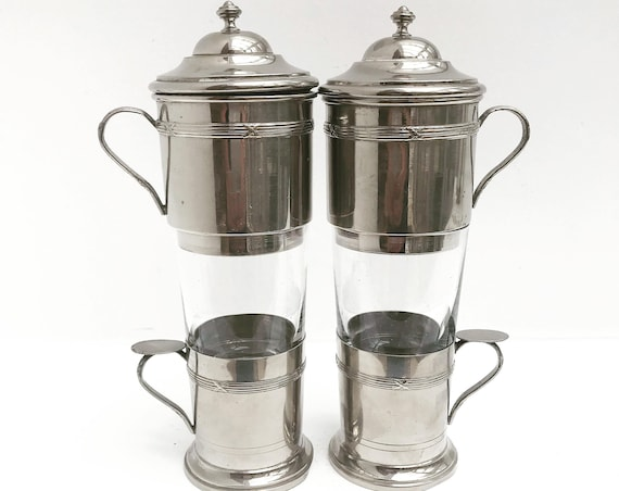 Coffee tea maker vintage french single cup filter coffee filter single cup coffee maker stainless steel vintage gift breakfast for two