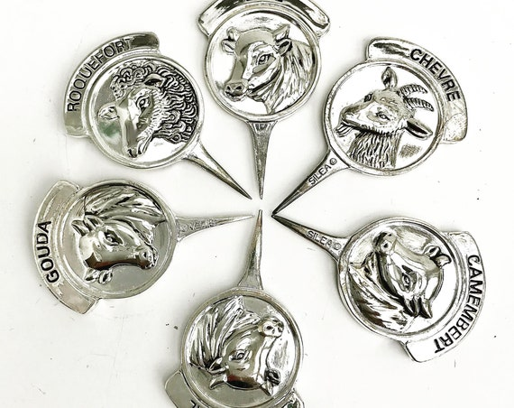Cheese picks, Vintage Silver Plated Cheese Markers, French Silea Cheese Labels, French Markers  Cow hostess  Gift for her Christmas table