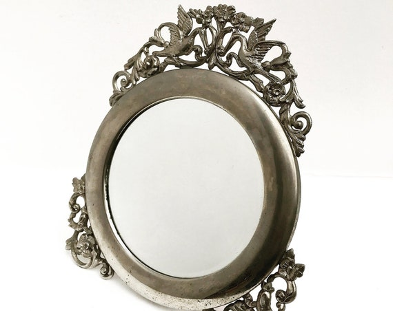 Vanity Mirror Vintage pewter table top mirror with Stand, psyche Round Mirror ornate with swans and flowers French Mid Century gift for mom