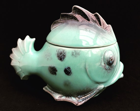 Art Deco Pottery Fish shaped ceramic aqua turquoise Display box with lid German 1930s table accessories home decor gift nautical  gravy boat