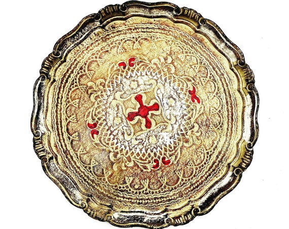 Large Round Tray Florentine Red and Gilt Old Italian Plateau  in Florentine Style Handmade Hollywood Regency Bar tray  wedding gift