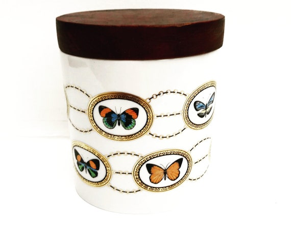 Lidded box porcelain butterfly decor Alka Kunst Art Bavaria Vintage 60s tea box coffee box tobacco jar tobacciana smoker gift  Germany candy